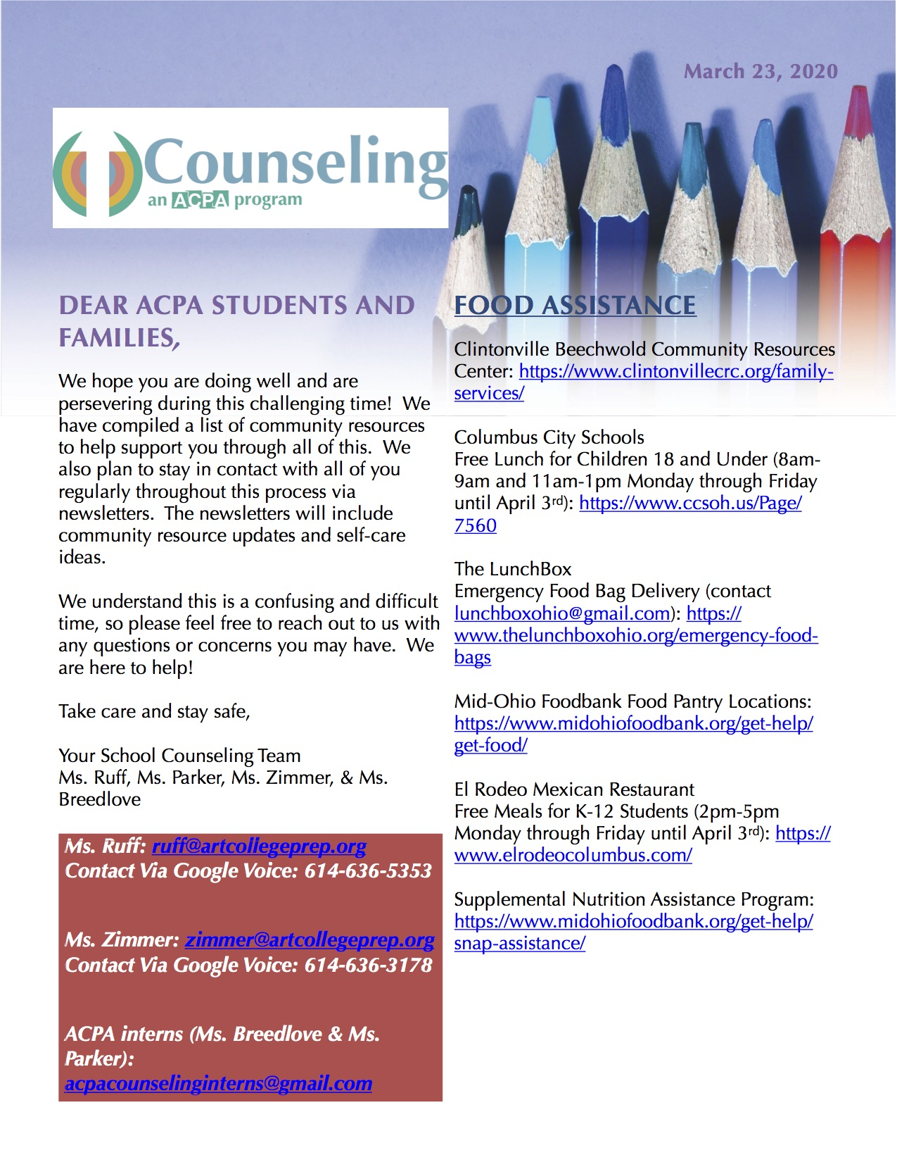1ACPA School Counseling Newsletter 3.23.20